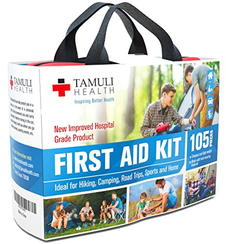 Tamuli Health First Aid Kit - Premium Compact Complete Lightweight Emergency Bag - for Car Travel Hiking Wilderness Survival Hunting Camping Sports Family Home School Office and Pets - Hospital Grade