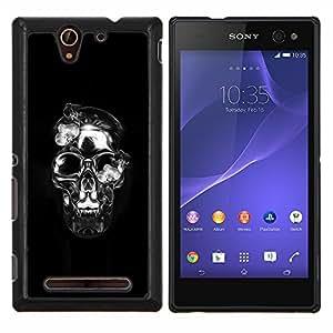 "Be-Star Único Patrón Plástico Duro Fundas Cover Cubre Hard Case Cover Para Sony Xperia C3 D2533 / C3 Dual D2502 ( Calavera de Cristal Negro Plata Death Metal"" )"