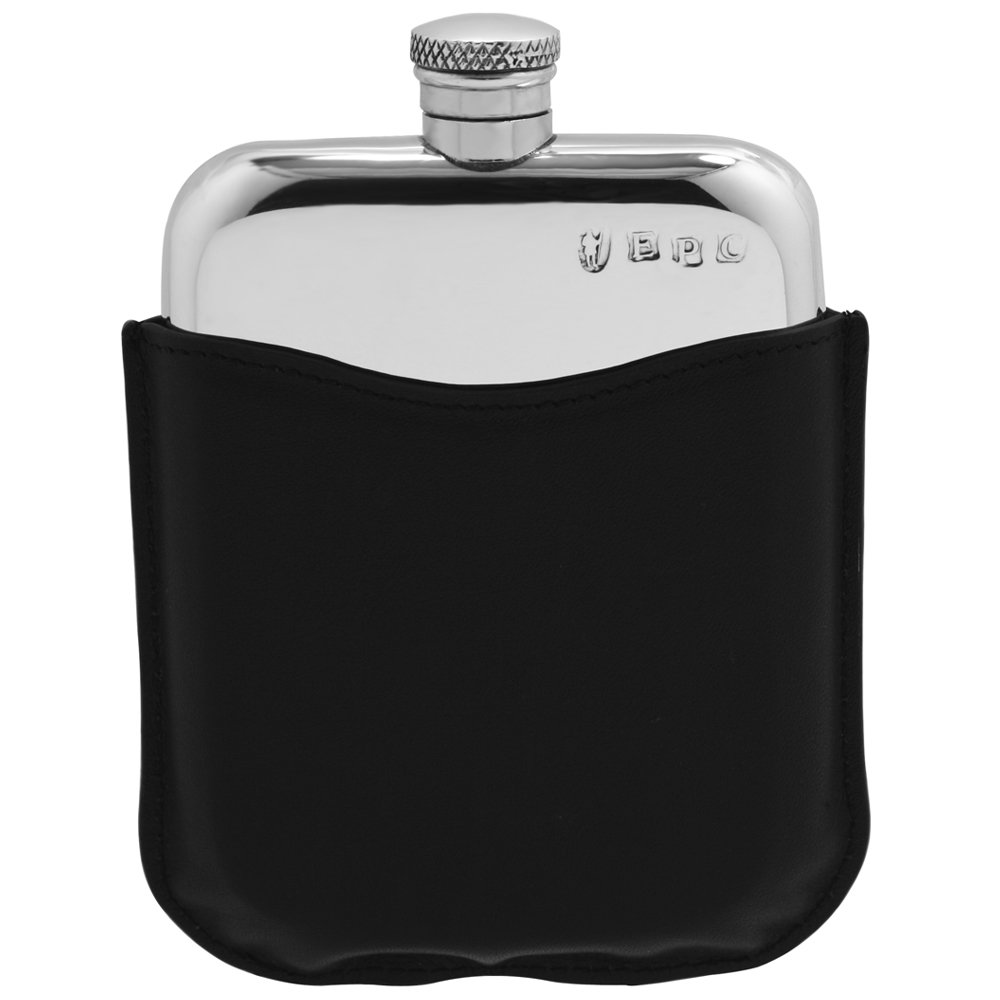 English Pewter Company 6oz Traditional Pewter Liquor Hip Flask With Genuine Black Leather Pouch [PLF05]
