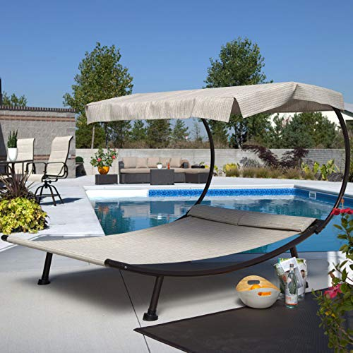 Patio Chaise Lounge. Outdoor Furniture Of Aluminum, Quick-dry Texteline Fabric For Porch, Deck, Lawn, Pool, Garden, Balcony, Conversation, Chat. Sling, Double Lounger With Padded Headrest & Canopy ()