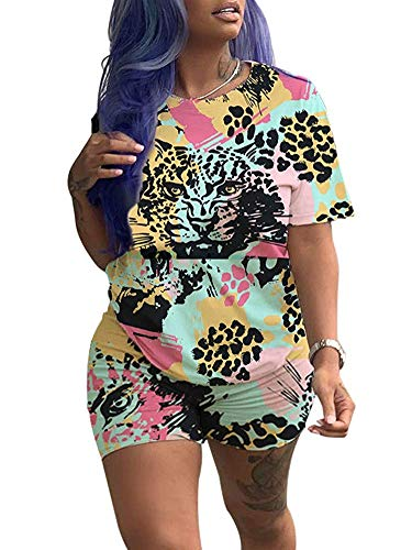 GADSUVI Women Casual 2 Piece Outfit Colorful Animal Print Short Sleeve T-Shirts Bodycon Shorts Set Jumpsuit Rompers]()