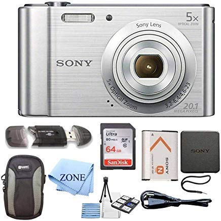 - Sony W800/S DSC-W800/S DSCW800S 20 MP Digital Camera 5x Optical Zoom (Silver) Bundle with 64GB SDHC Memory Card, Table top Tripod, Deluxe Case, and Lens Cleaning Cloth