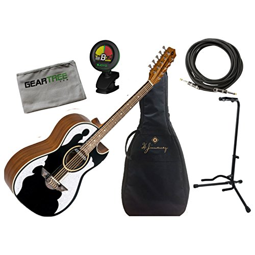 - H Jimenez Bajo Quinto LBQ4EBT Black Acoustic Electric w/Gig Bag, Cloth, Stand,