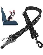 SlowTon Dog Seat Belt, Adjustable Dog Safety Belt Leash, 2 in 1 Latch Bar Attachment Dog Car Seatbelt with Elastic Nylon Bungee Buffer, Reflective Nylon Belt Tether Connect to Dog Harness (Black)