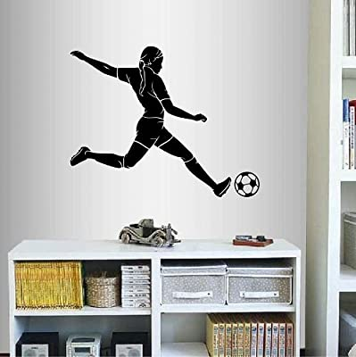 Wall Vinyl Decal Home Decor Art Sticker Girl Woman Player Football Soccer Kicking Ball Sports Room Removable Stylish Mural Unique Design