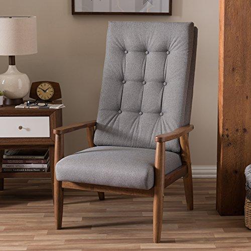 Baxton Studio 424-7140-Amz Elyse Walnut Wood Fabric Upholstered Button-Tufted High-Back Chair, Grey