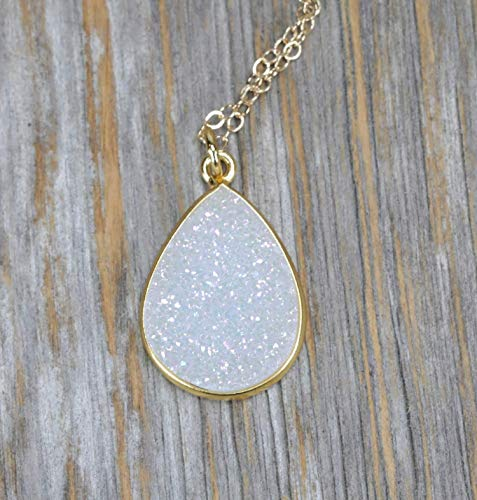 Large White Druzy Pear Pendant Necklace- 14k Gold Filled-18