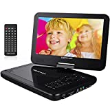 DBPOWER 10.5'' Portable DVD Player with Rechargeable Battery, Swivel Screen, SD Card Slot and USB Port - Black
