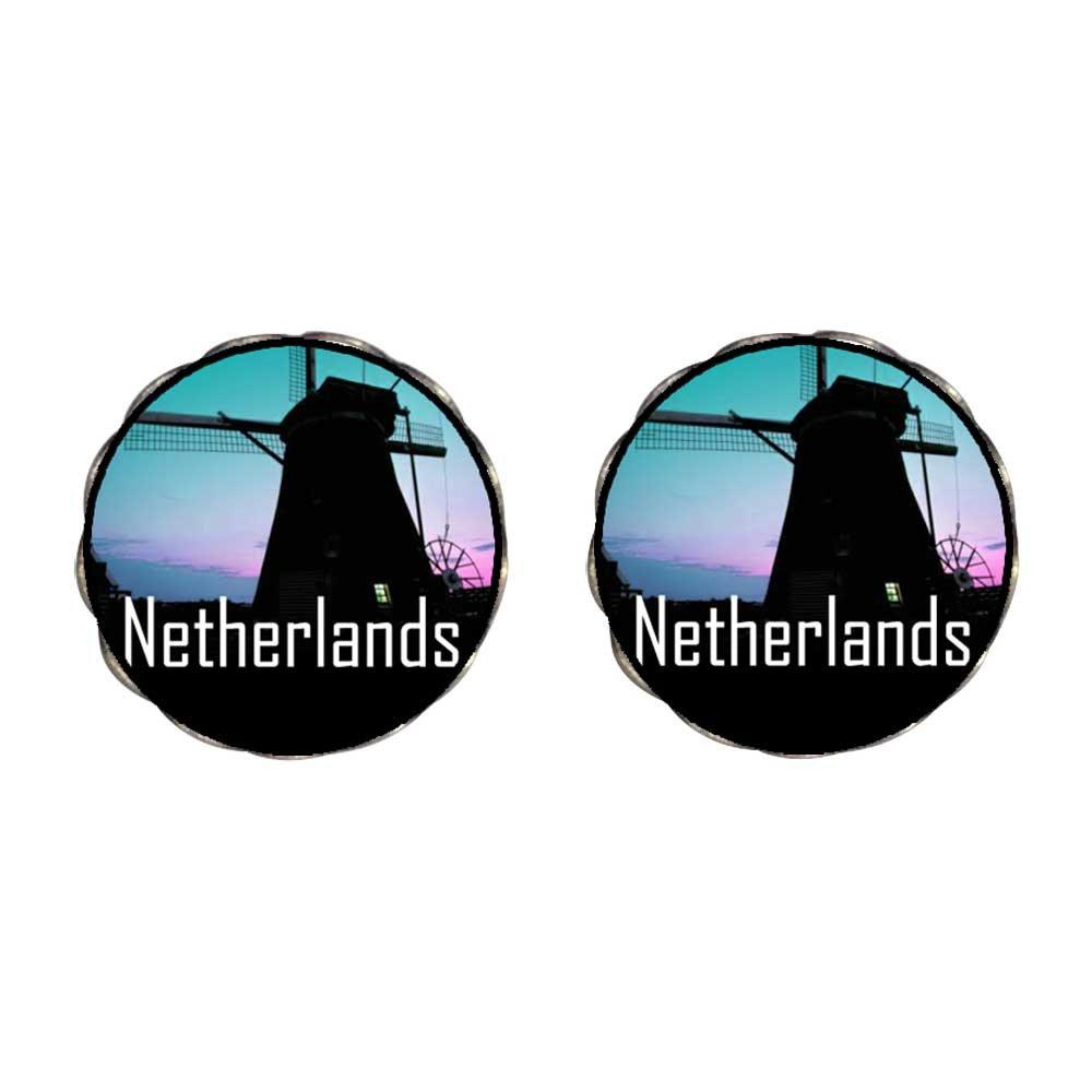 GiftJewelryShop Bronze Retro Style Travel Netherlands windmills Photo Flower Stud Earrings 14mm Diameter