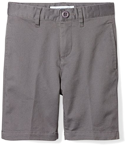 (Amazon Essentials Toddler Boys' Flat Front Uniform Chino Short, Gray, 2T)