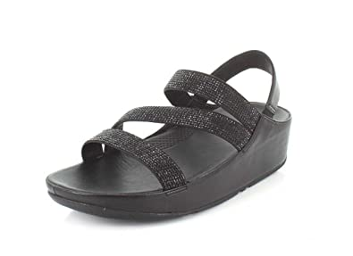c513e266167d25 FitFlop Womens Crystall Z-Strap Black Sandal - 7