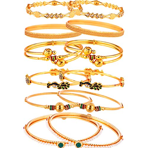 Zeneme Combo of Victoria Bangle Set, Pearls Bangle Set, Trendy Gold Plated and Coinage Bangle Set for Women & Girls- Pack of 12