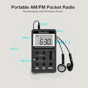 Bluevalley Pocket Portable AM FM Radio with Earphone, Digital Tuning Little Stereo Radios for Walk/ Jogging/Gym/Camping, Best Reception, Rechargeable Battery Operated , Aux Out