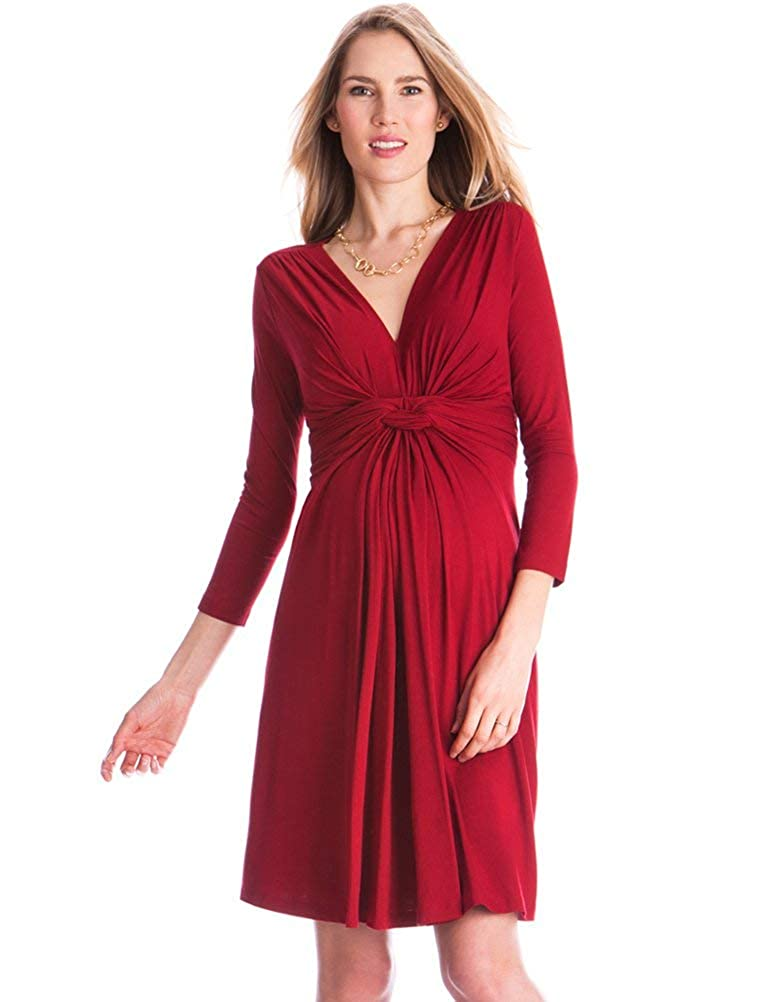 Seraphine Claret Red Knot Front Maternity Dress W010090CLARET16