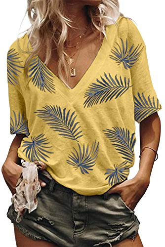 Dokotoo Womens Blouses Fashion Female Ladies Feather Print Casual Short Sleeve V Neck Loose Plain Tops Summer Blouses T Shirts Yellow Large
