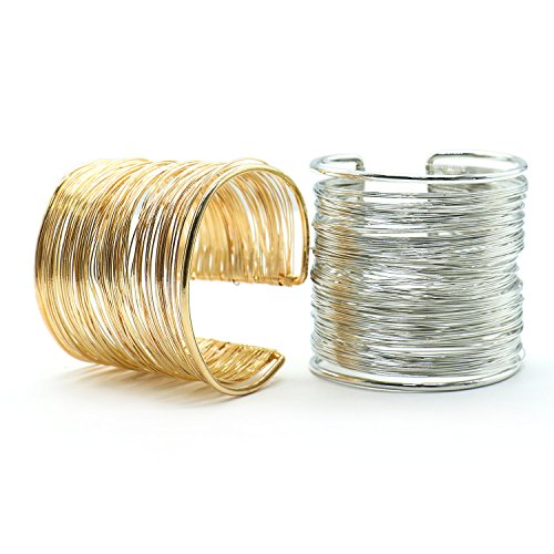 IDS 2 Pcs Memory Wire Ring Jewelry Bracelet, Gold & Silver Rl Wire