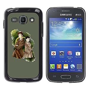 Qstar Arte & diseño plástico duro Fundas Cover Cubre Hard Case Cover para Samsung Galaxy Ace 3 III / GT-S7270 / GT-S7275 / GT-S7272 ( Detective Raincoat Man Boy Drawing Cartoon)