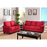 Kings Brand Furniture Microfiber Fabric Sofa & Loveseat Living Room Set (Red)