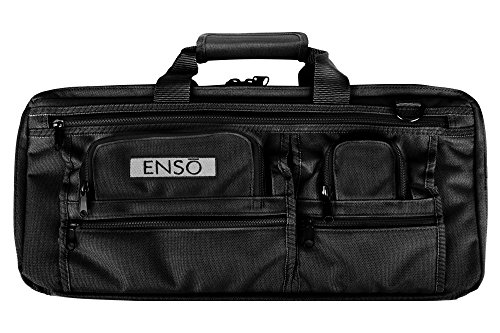 Enso Chef Knife Bag - 18 Pocket Professional Chefs Case - Canvas, Black - Culinary Knife Bag