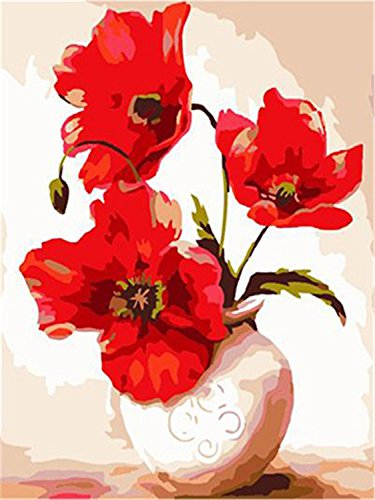[WOODEN FRAMED] Diy Oil Painting Paint by Number Kits for Adult Kids - Flowers Vases 16 x 20 Inch