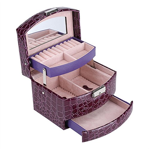 Acogedor Jewelry Box, 3 Layers Jewelry Storage Organizer,Jewelry Case for Storing Watches, Rings, Earrings, Ear Studs, Necklaces, Bracelets, Cuff Links, and Brooches(Purple)