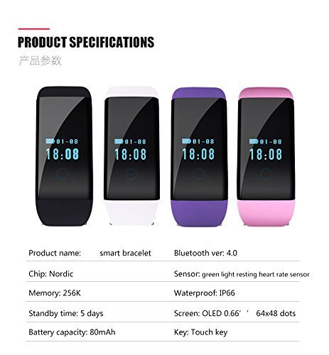 Mynike Fitness Tracker Waterproof Smart Bracelet Heart