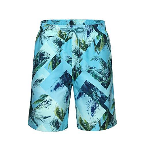- Rokka&Rolla Men's Quick Dry Drawstring Waist Swim Trunks Board Shorts with Mesh Lining (XL, Geometry Palm)