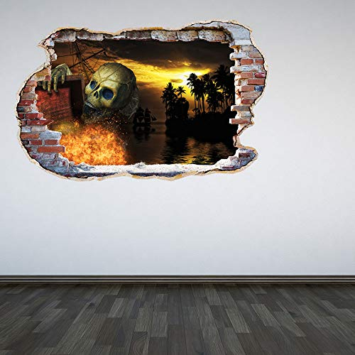 (Full Colour Pirates Skeleton Caribbean Smashed Wall 3D Effect Under the Ocean Sea Bedroom Wall Sticker Decal Kids Bedroo )