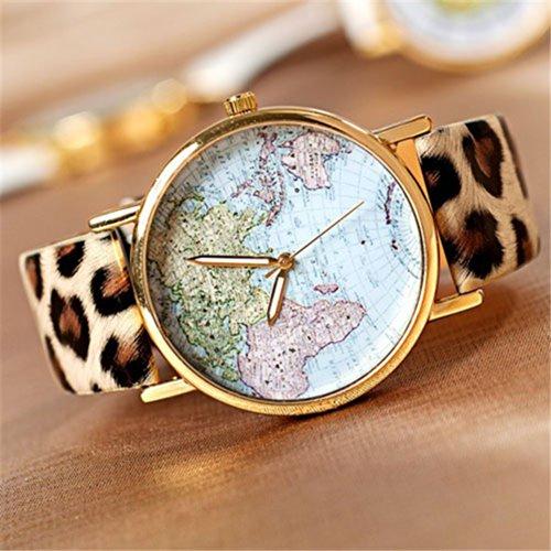 U-beauty GreatCase Unisex Elegant Retro Old Classic Luxury World Map Bracelet Quartz Wrist Watch with Leather Band (Leopard)