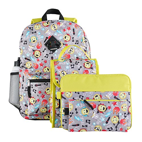 Kids Emoji 6 Piece Backpack & School Accessories Set Dollhouse Flip Top