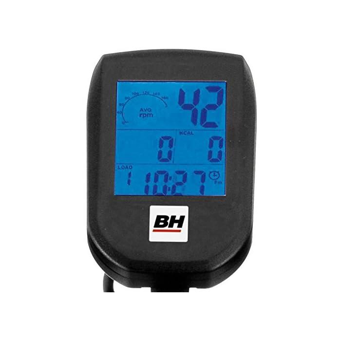 514vUQ2zPoL Volante inercia de 20kg para un pedaleo estable. Freno magnético con selector de 16 niveles y freno de emergencia Monitor LCD multifunción retroiluminado. Muestra RPM, tiempo, calorías, distancia, vatios y pulso.