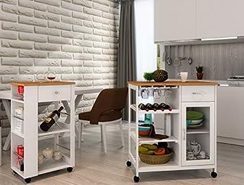 Küchenwagen Landhausstil küchenwagen iserlohn beistellwagen bambus landhausstil amazon de