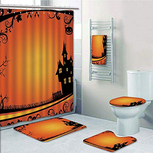 Bathroom Fashion 5 Piece Set shower curtain 3d print,Halloween,Framework with Curvy Tree Branches Swirls Leaves Gothic Castle Festival Decorative,Orange Yellow Black,Bath Mat,Bathroom Carpet Rug,Non-S -