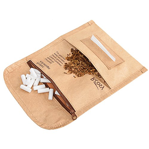 Chillscreamni Tobacco Pipe Bags & Pouches - Quality Rolling Tobacco Pouch Case from Unique Tyvek Paper with Incredibly Anti-Tearing&Waterproof Feature, Unisex Roll Up Tobacco Case Pouch for Daily Use ()