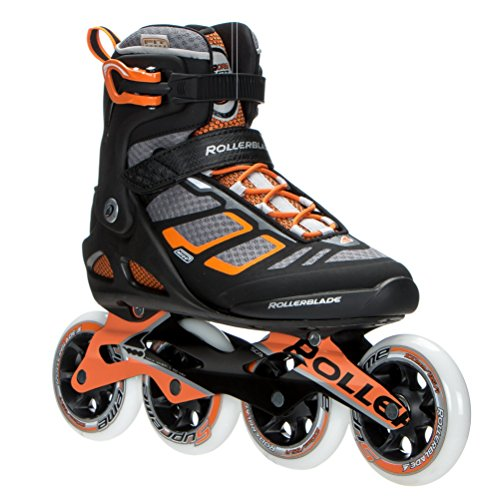 Rollerblade 16/17 Macroblade 100 Fitness/Workout Skate with 100mm Wheels, Black/Orange, US Size 6 -