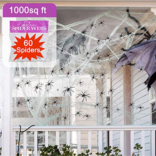 Halloween Decorations Spider Web,Giant Spider Web 1000 Square Feet Stretch Mega Spider Silk Scary Spooky Spiders for Outdoor Indoor Wall Yard Garden House Large Cobweb Halloween Party Favor Supplies Holiday Decor