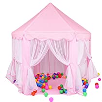 Pink Princess Castle Kids Play Tent Children Playhouse, Great for 1-10 Years Old Kids Toys, Indoor and Outdoor Use,55-Inch Diameter x 53-Inch Height (LED Light Not Include)