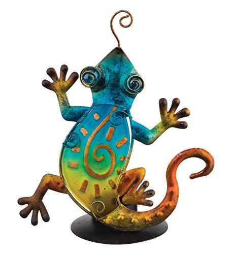 Glass Metal Tea Light Candle Holder Green Blue Southwest Lizard #AW01 ()