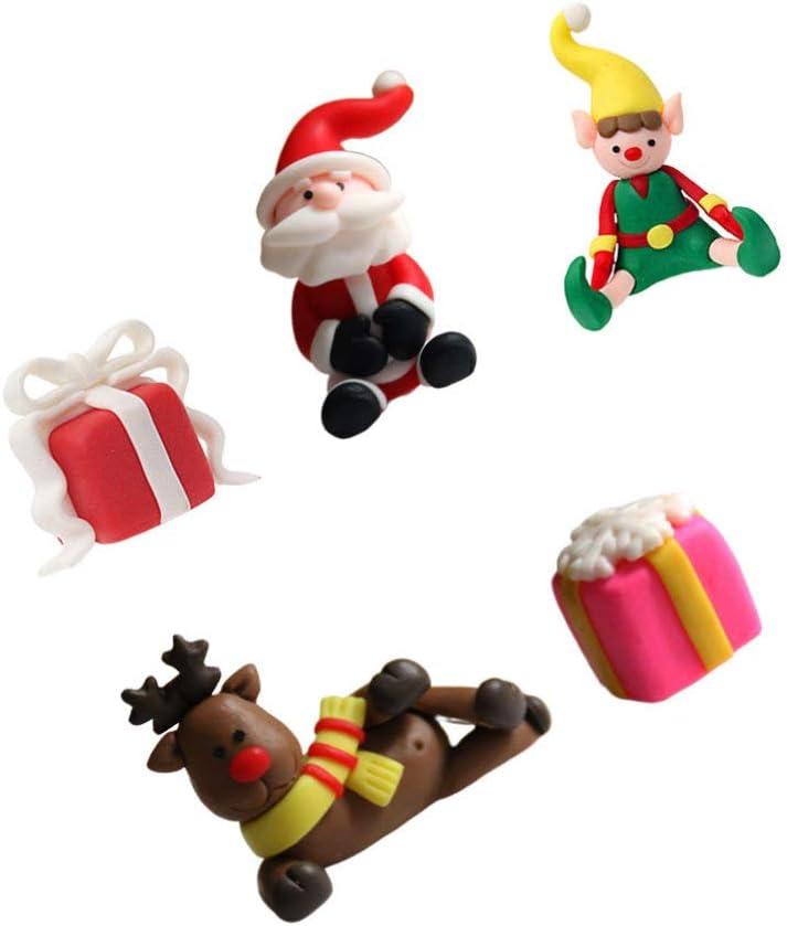 TOYANDONA 5PCS Fairy Garden Christmas Accessories Xmas Santa Elf Reindeer Gift Box Miniature Ornaments DIY Snow Globe Figurines Christmas Cake Decor Micro Landscape