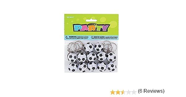 Unique Party- Paquete de 12 llaveros con diseño de pelotas de fútbol (86925)
