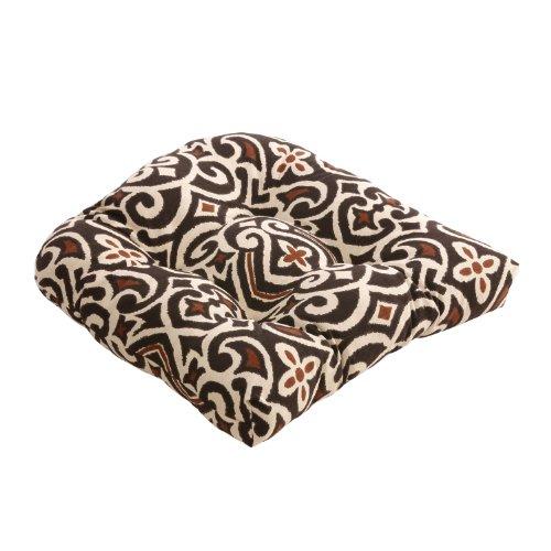 Pillow Perfect Brown/Beige Damask Chair Cushion