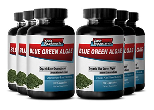 Herbal Digestion Support - Klamath Blue Green Algae 500mg - (6 Bottles 360 Capsules) by Sport Supplement