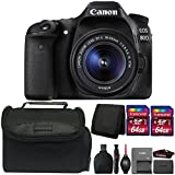 Canon EOS 80D 24.2MP DSLR Camera + 18-55mm Lens + 128GB Memory Card + Wallet + Reader + Lens Pen + Dust Blower + Case