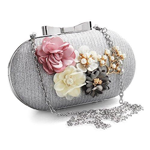 Gold Bag Evening Pearl Bag Vintage Clutch Womens Wedding Flower Handbag 7qxFwZzHzn