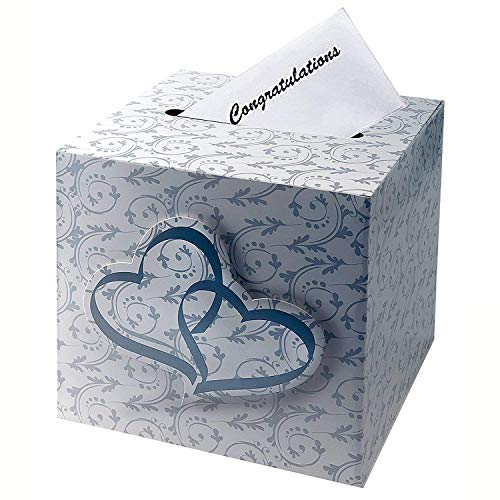 Adorox NEW 3D Double Heart Love Wedding Card Money Gift Box Reception Wishing Well Party Favor Decoration