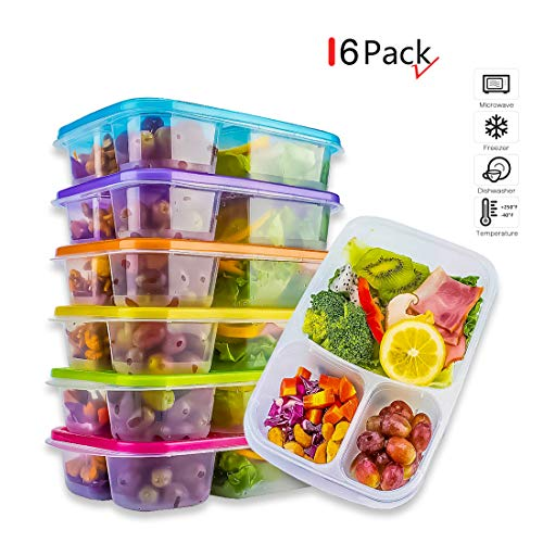 Meal Prep Containers,Bento Lunch Box,Reusable 3-Compartment Easy Open Safe Plastic Divided Food Storage Container Boxes for Kids Children Adults,Microwave,Dishwasher and Freezer BPA Free(6 Pcs) (Best Small Upright Freezer Canada)