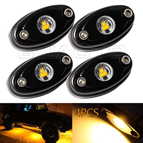 BLIAUTO LED Rock Light Kit Amber Light Lamp for Jeep Car UTV ATV SUV RZR Off Road Ranger Pioneer Wheeler Truck Trail Bed Lighting Boat Underglow Lights Waterproof(4PCS)
