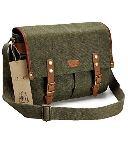 Canvas Camera Bag ZLYC Leather Trim Camera Case Vintage DSLR Shoulder Messenger Purse For Women & Men