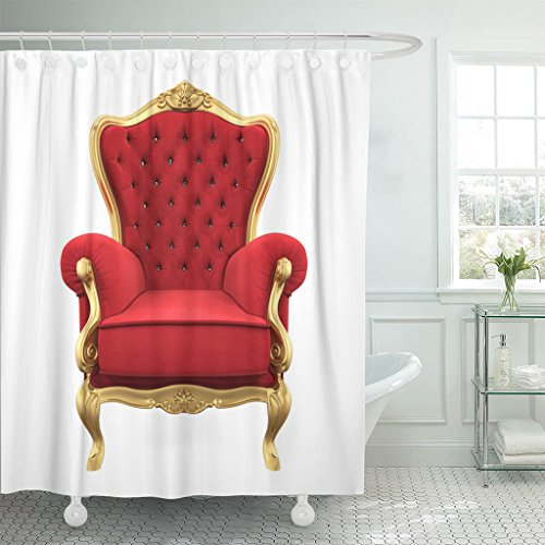 Emvency Shower Curtain Red King Throne Chair 3D Rendering Queen Golden Waterproof Polyester Fabric 72 x 72 inches Set with Hooks ()