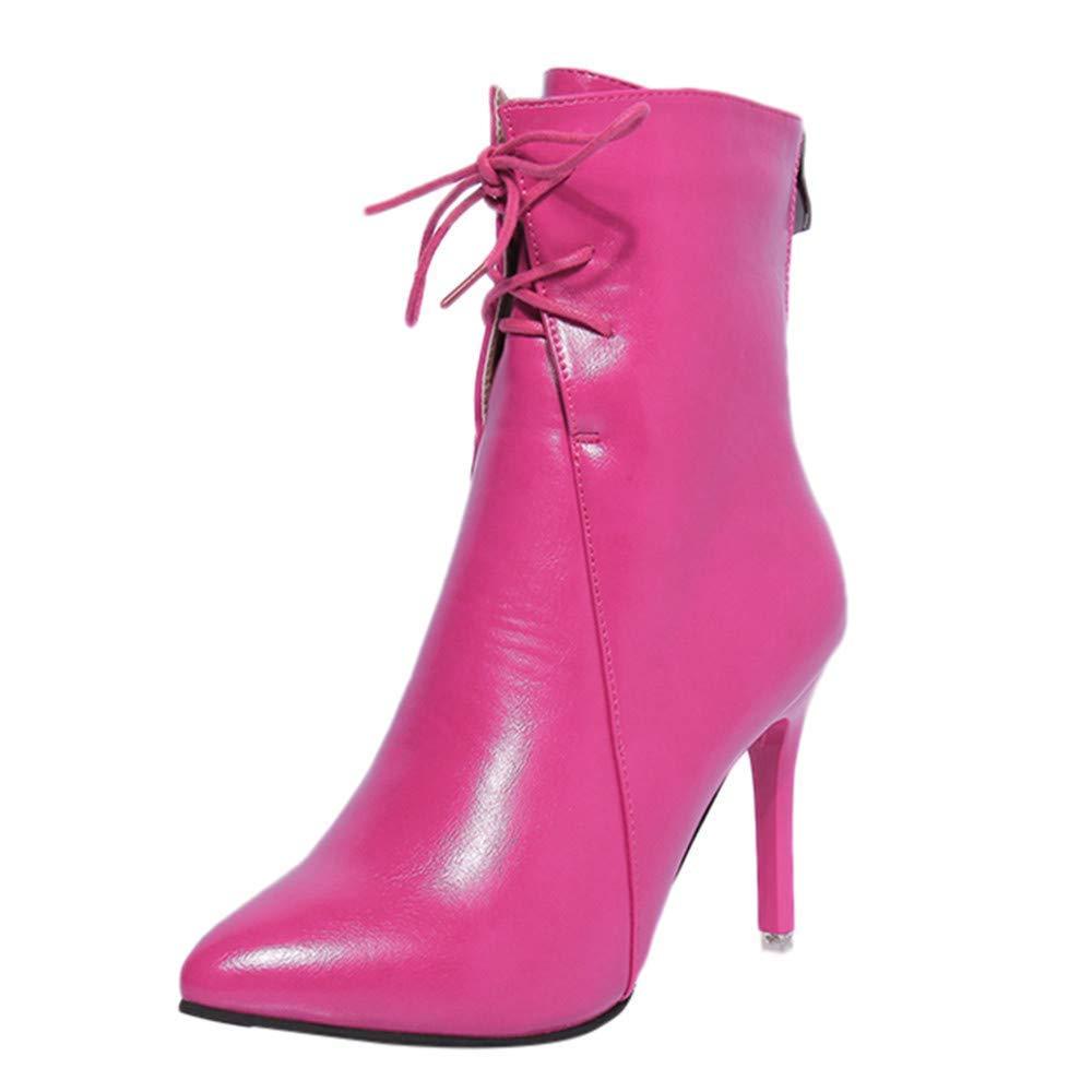 Oudan Stiefel Damen Schuhe Frauen Stiefeletten Pumps High Heel Stiefel Frühling Sandalen Schuhe Spitz Riemchen Elegant Kurzschaft Keilabsatz Schlupfstiefel (Farbe   Rosa Größe   36 EU)